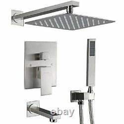 10Brushed Nickel Rainfall Shower Faucet Tub Spout High Pressure Tap WithSpray