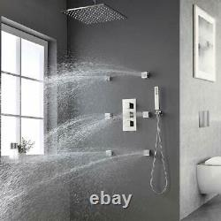 12LED Rain Shower Head System Bathroom Faucet Fixture Complete Kit Thermostatic