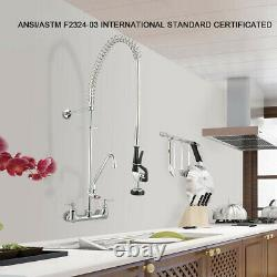 12 Commercial Pre-Rinse Sink Faucet Kitchen Add-On Mixer Tap Pull Down Sprayer