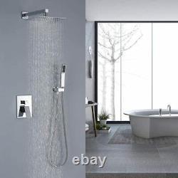 12 Inches Bathroom Luxury Rainfall Mixer Shower Combo Set Polished Chrome