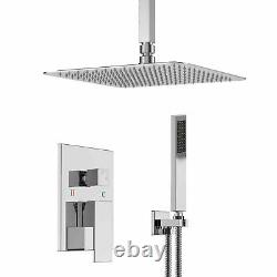 16Chrome Ceiling Mounted Shower System Set Rain Square Shower Head WithSprayer