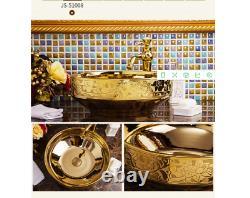16.4 Gold Ceramic Bathroom Basin Vessel Sink Mixer Faucet Tap Pop-up Drain Set