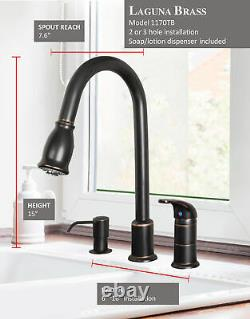 16 Pull-Down Spray Kitchen Sink Faucet Soap/Lotion Dispenser Oil Rubbed Bronze