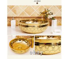 17.4 Gold Ceramic Bathroom Basin Vessel Sink Mixer Faucet Tap Pop-up Drain Set