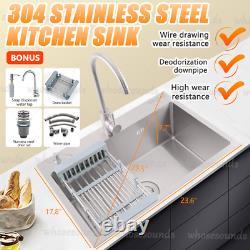 29.5'' TopMount Stainless Steel Kitchen Sink 2-Hole Handmade 16 Gauge with Drain