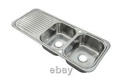 2.0 Bowl Stainless Steel Inset Kitchen Sink & Low Chrome Mixer Tap Deal (KST071)