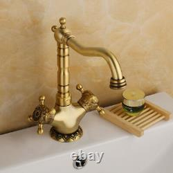 2 Handles Antique Brass Bathroom Basin Single Hole Faucet Vintage Sink Mixer Tap