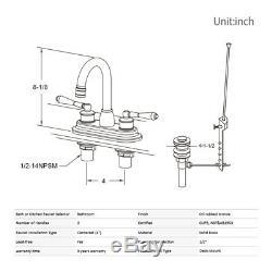 3 Hole 4 Bathroom Faucet Oil Rubbed Bronze Mixer Tap 2 Handles Lavatory Sink