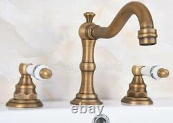 3 Holes Vintage Brass Bathroom Sink Mixer Tap Widespread Basin Faucet Pan072