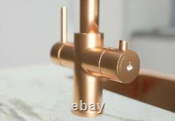 3-in-1 Instant Hot Water Kitchen Tap Satin Copper Finish Lavatap