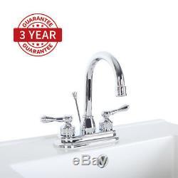 4 Chrome Bathroom Sink Faucet 2 Handles Mixer Tap Pop Up Drain Lavatory 3 Hole