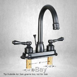 4 Oil Rubbed Bronze Bathroom Sink Faucet With Drain Centerset 2 Handle Mixer Tap