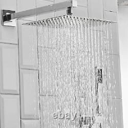 8 inch Rainfall Shower Faucet Set With Handheld Sprayer Chrome Finish Mixer