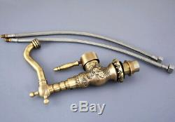 Antique Brass Carved Bathroom / Kitchen Sink Swivel Faucet Mixer Tap fsf127