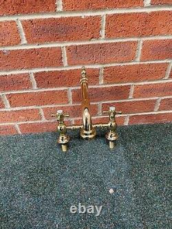 Antique Brass Gold Kitchen Bridge Sink Mixer Taps Ideal Belfast Sink Stunning