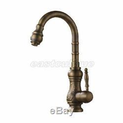 Antique Brass Kitchen Sink Bathroom Basin Mixer Tap Faucet Swivel Spout Esf001