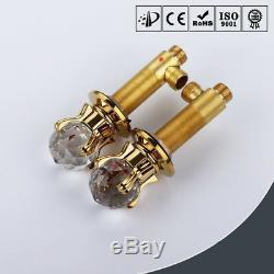 Antique Gold Brass Bathroom Basin Sink Waterfall Mixer Tap Faucet Cystal Handles