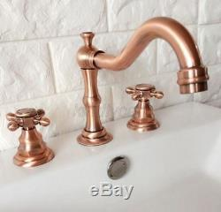 Antique Red Copper Widespread Bathroom Sink Faucet 3 Hole Basin Mixer Tap Krg041