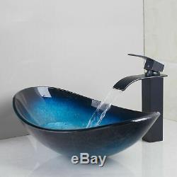 Art Blue Tempered Glass Bathroom Oval Basin Vessel Sinks Black Mixer Faucet Set
