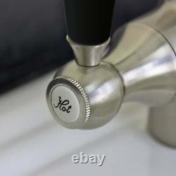 Astini Colonial Brushed Steel & Black Ceramic Handle Kitchen Sink Mixer Tap