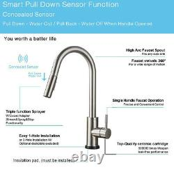 Automatic Touch Sensor Kitchen Faucet Sink Pull Out Sprayer Brushed Nickel Tap