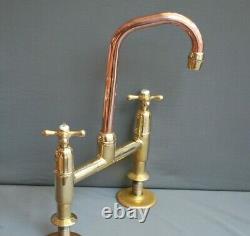 BRASS & COPPER MIXER TAPS IDEAL 4 BELFAST SINK 5 / 13cm SWIVEL SPOUT, REFURBED