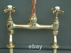 BRASS & COPPER MIXER TAPS IDEAL BELFAST KITCHEN SINK REFURBED TAPS 24cm SPOUT