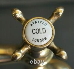 BRASS MIXER TAPS TAPS IDEAL BELFAST KITCHEN SINK FULLY REFURBED TAPS 23cm SPOUT
