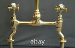 BRASS MIXER TAPS TAPS IDEAL BELFAST KITCHEN SINK FULLY REFURBED TAPS 24cm SPOUT