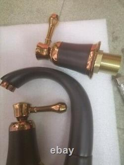 Bath Sink Brass 3 Hole Two Handles Widespread Faucet Mixer Tap Rose Gold +Black
