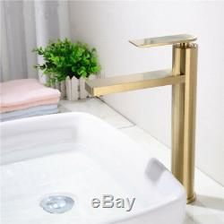 Bathroom Basin Sink Faucet Single Hole Hot Cold Mixer Tap Brass Brushed Gold A23