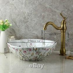 Bathroom Ceraic Basin Bowl Vessel Sinks Antique Brass Mixer Faucet Drain Combo