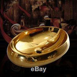 Bathroom Gold Mixer Faucet Oval Gold Ceramic Basin Sink Bowl Gold Pop Drain Set
