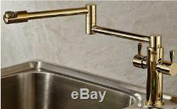 Bathroom Kitchen Sink Mixer Tap Faucet Swivel Spout Nozzle Two Handle Deck Mount