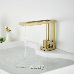Bathroom Sink Basin Faucet Waterfall Single Handle 1 Hole Mixer Tap Brushed Gold