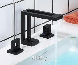 Bathroom Sink Faucet Brass 3 Holes Hot&Cold Mixer Taps 2 Handles Matte Black