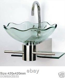 Bathroom Wall mounted CLEAR round glass basin sink wash bowl+ STAND + TAP