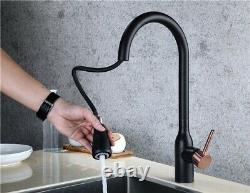 Black Brass Kitchen Sink Faucet Rose Gold Handle Pull Out and Down Mixer Tap New