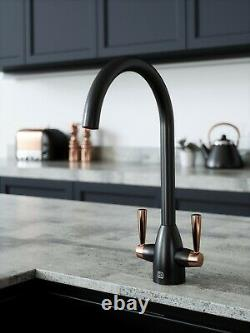 Black & Copper Kitchen Tap Inc. Water Filter Kit. Swan Neck. 2 Lever Handles