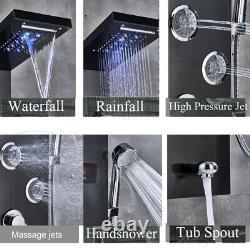 Black Shower Panel Tower LED With Massage System Body Sprayer Jets Tub Spout1