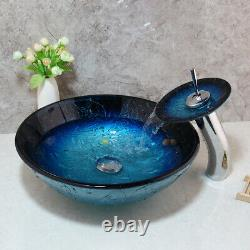Blue Carved Temperd Glass Bathroom Basin Bowl Vessel Sink Waterfall Mixer Taps