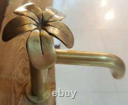 Brass Basin Sink Tall Faucet Tap Bathroom Plumeria Spigot Vintage Water Home
