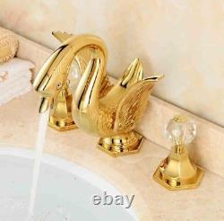 Brass Basin Sink Tap Mixer Sprayer Spout Bathroom Bath Faucet Double Handle Gold