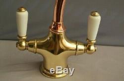 Brass & Copper Mono Mixer Lever Taps Kitchen Mixer Ideal Belfast Sink Refurbed