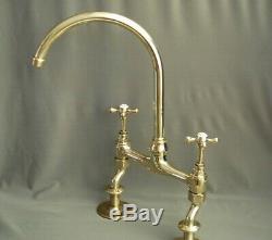Brass Kitchen Mixer Taps Ideal 4 Belfast Sink, Swan Neck, Fully Refurbished Taps