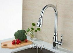 Brass Kitchen Tap Retro Victorian Mixer Sink Basin Pull Out Spray Tall Faucet 37