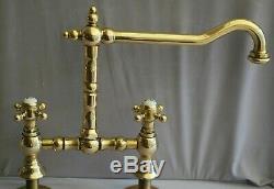 Brass Long Reach Kitchen Mixer Taps Deal Belfast Sink Reclaimed & Refurbed Taps