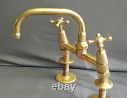 Brass Mixer Taps Original Patina, Deal Belfast Sink, Refurbed 7.5 Reach Spout