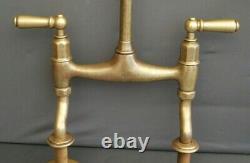 Brass Mixer Taps, Original Patina, Ideal 4 Belfast Kitchen Sink Fully Refurbed