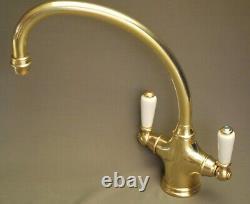 Brass Mono Mixer Lever Taps, Kitchen Taps Ideal Belfast Sink, Refurbed 8 Spout
